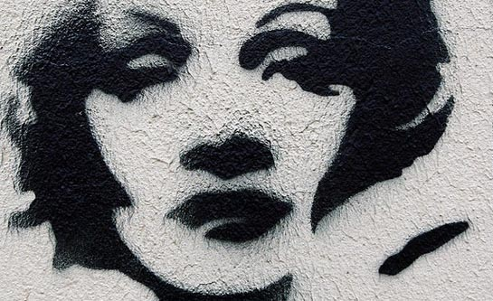 Graffiti of Marlene Dietrich sprayed on a building in Berlin