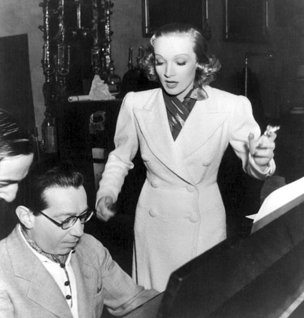 Photo of Frederick Hollander working with Marlene Dietrich in Hollywood