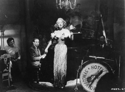 Photo of Frederick Hollander and Marlene Dietrich in 'A Foreign Affair'