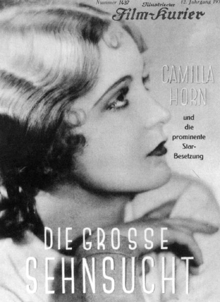 Film poster for 'Die grosse Sehnsucht'