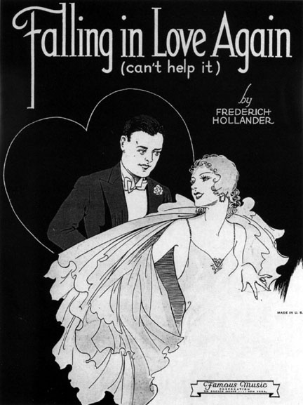 Early sheet music for 'Falling In Love Again'