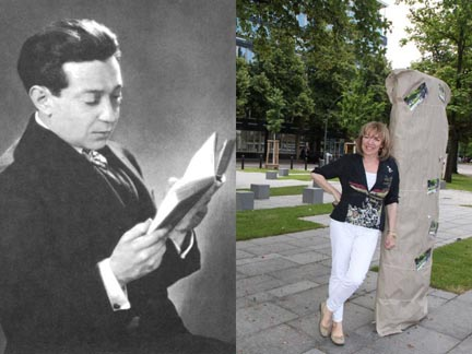 Photo of Frederick Hollander reading a book, and Friedrichhollaenderplatz with daughter Melodie Hollander