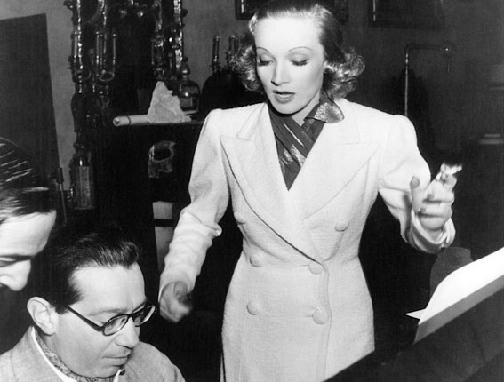 Marlene Dietrich and Frederick Hollander working together in Hollywood 1940s